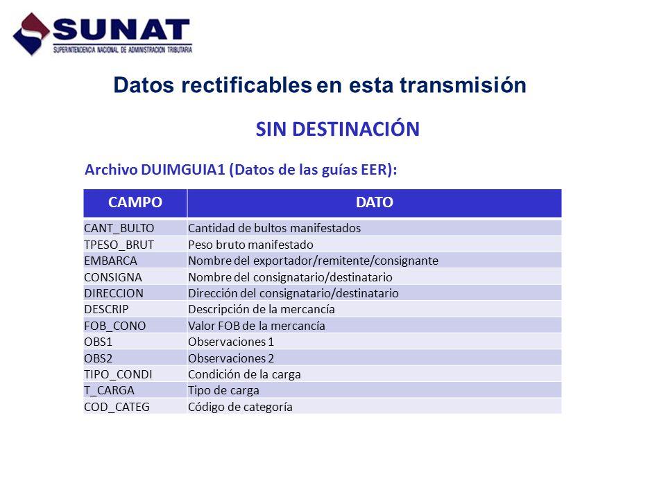 Datos rectificables en esta transmisión Archivo DUIMGUIA1 (Datos de las guías EER): CAMPODATO CANT_BULTO Cantidad de bultos manifestados TPESO_BRUTPes