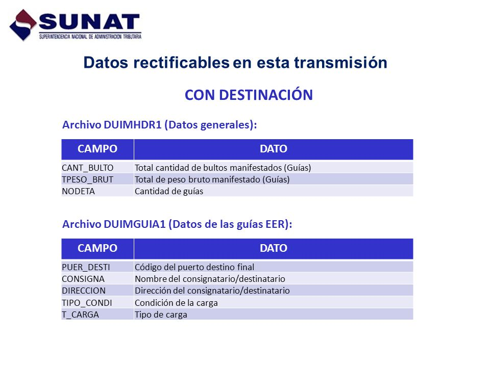 Datos rectificables en esta transmisión Archivo DUIMHDR1 (Datos generales): CON DESTINACIÓN Archivo DUIMGUIA1 (Datos de las guías EER): CAMPODATO PUER