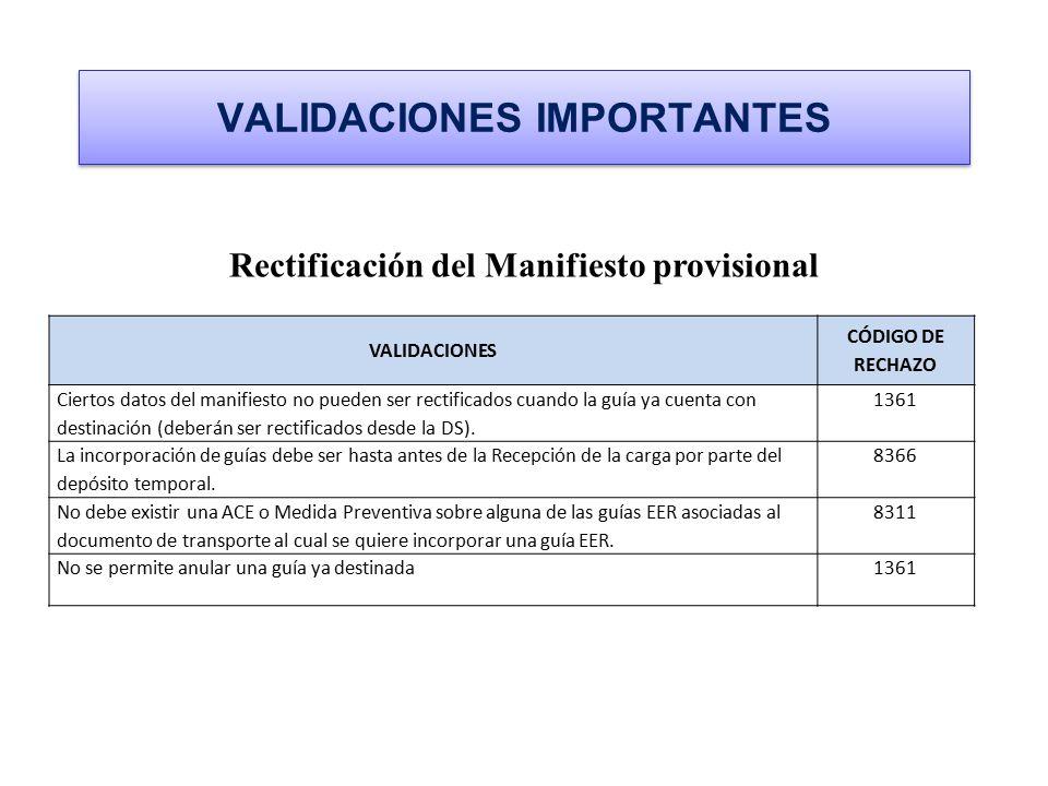 VALIDACIONES IMPORTANTES Rectificación del Manifiesto provisional VALIDACIONES CÓDIGO DE RECHAZO Ciertos datos del manifiesto no pueden ser rectificad