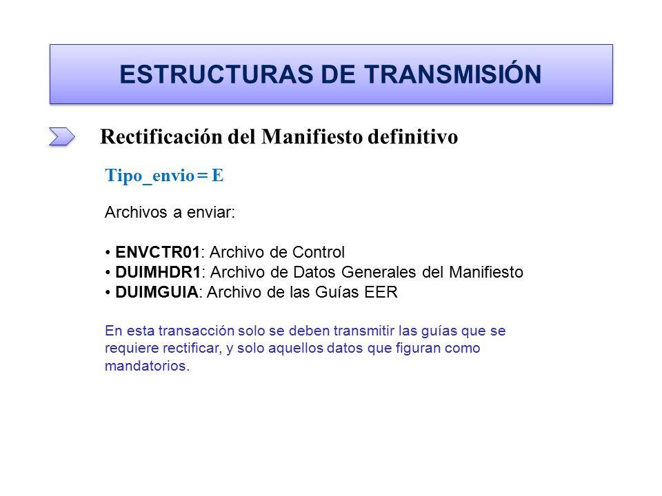ESTRUCTURAS DE TRANSMISIÓN Rectificación del Manifiesto definitivo Tipo_envio = E Archivos a enviar: ENVCTR01: Archivo de Control ENVCTR01: Archivo de