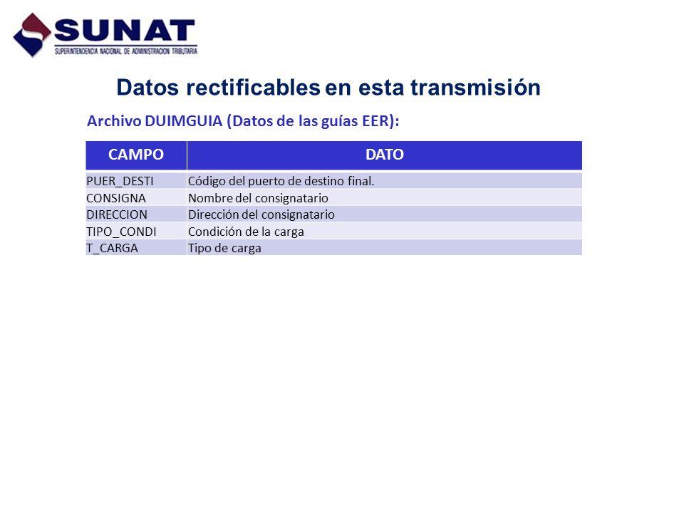 Datos rectificables en esta transmisión Archivo DUIMGUIA (Datos de las guías EER): CAMPODATO PUER_DESTICódigo del puerto de destino final. CONSIGNANom