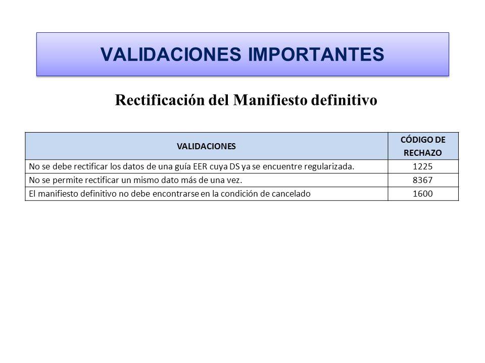 VALIDACIONES IMPORTANTES Rectificación del Manifiesto definitivo VALIDACIONES CÓDIGO DE RECHAZO No se debe rectificar los datos de una guía EER cuya D