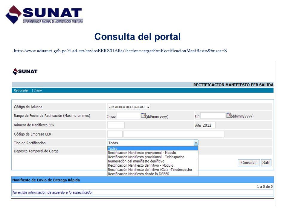 Consulta del portal http://www.aduanet.gob.pe/cl-ad-eer/enviosEERS01Alias?accion=cargarFrmRectificacionManifiesto&busca=S