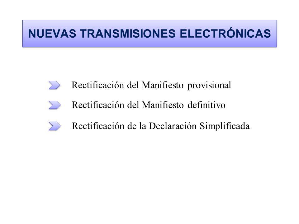 NUEVAS TRANSMISIONES ELECTRÓNICAS Rectificación del Manifiesto provisional Rectificación del Manifiesto definitivo Rectificación de la Declaración Sim