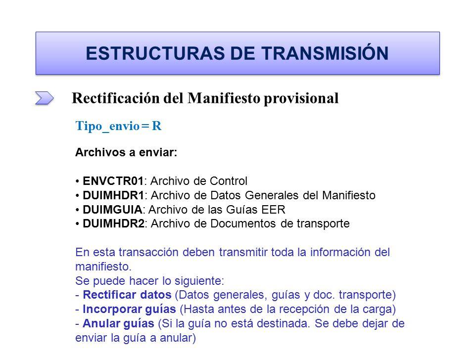 ESTRUCTURAS DE TRANSMISIÓN Rectificación del Manifiesto provisional Tipo_envio = R Archivos a enviar: ENVCTR01: Archivo de Control ENVCTR01: Archivo d