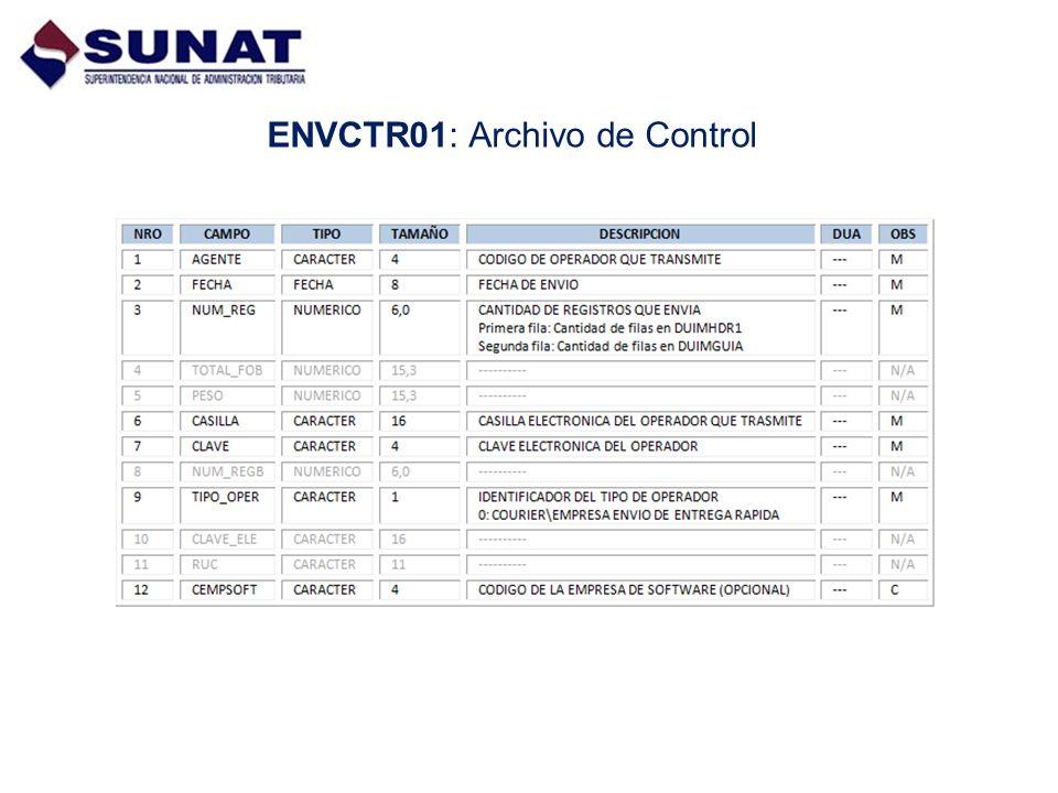 DUIMHDR1: Archivo de Datos Generales del Manifiesto