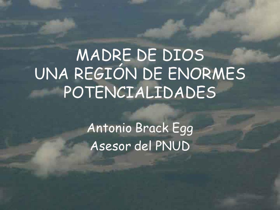 MADRE DE DIOS UNA REGIÓN DE ENORMES POTENCIALIDADES Antonio Brack Egg Asesor del PNUD
