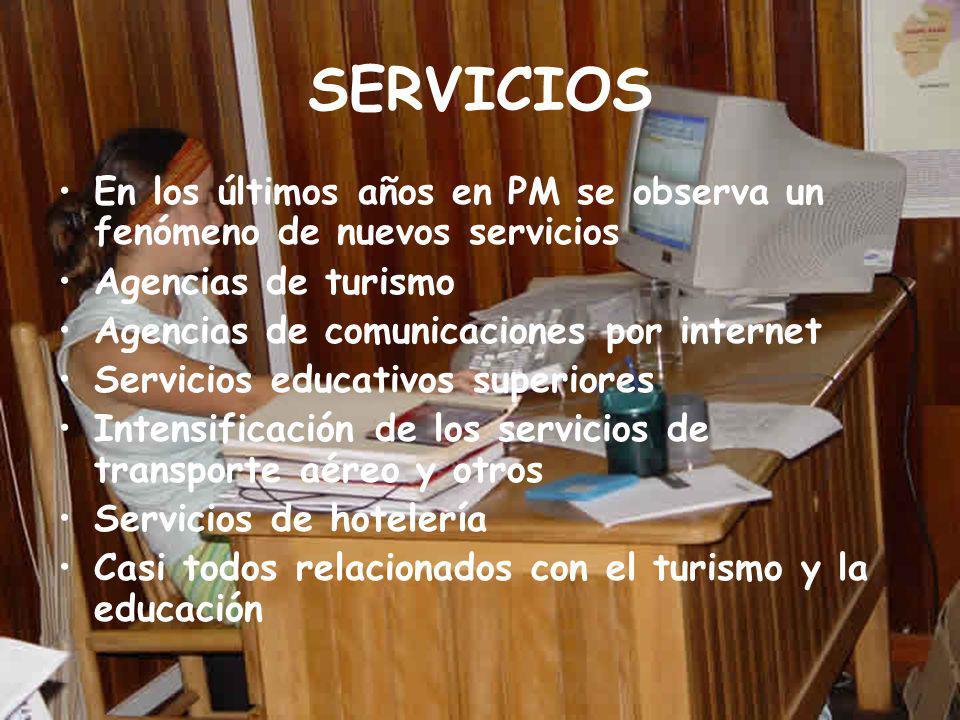 SERVICIOS En los últimos años en PM se observa un fenómeno de nuevos servicios Agencias de turismo Agencias de comunicaciones por internet Servicios educativos superiores Intensificación de los servicios de transporte aéreo y otros Servicios de hotelería Casi todos relacionados con el turismo y la educación
