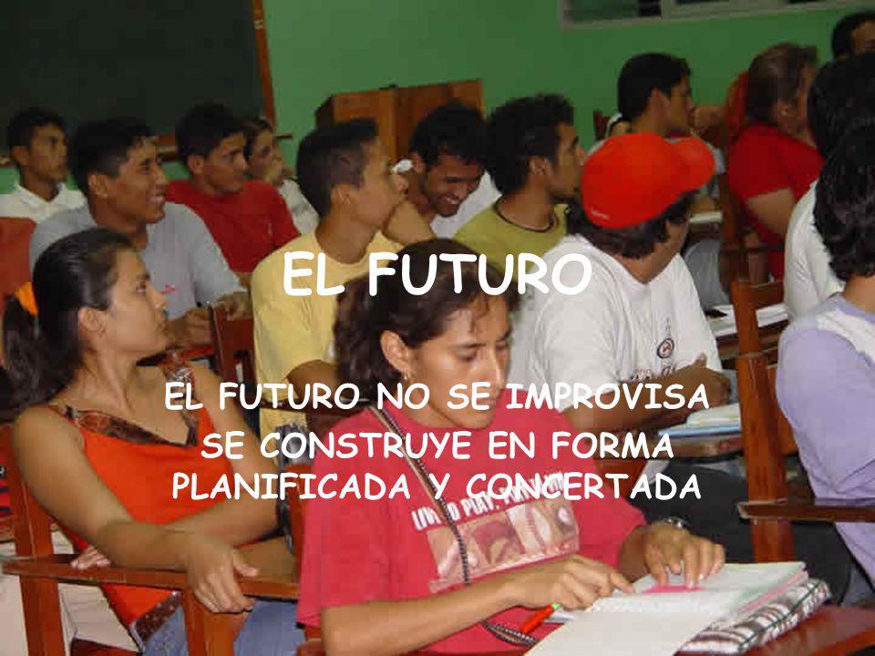 EL FUTURO EL FUTURO NO SE IMPROVISA SE CONSTRUYE EN FORMA PLANIFICADA Y CONCERTADA
