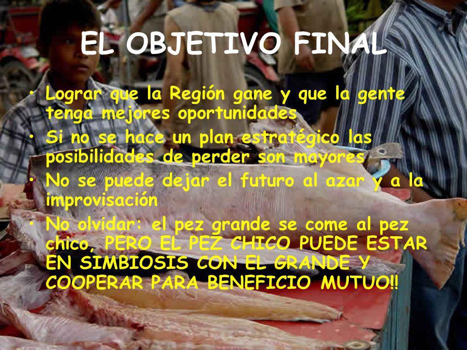 EL OBJETIVO FINAL Lograr que la Región gane y que la gente tenga mejores oportunidades Si no se hace un plan estratégico las posibilidades de perder son mayores No se puede dejar el futuro al azar y a la improvisación No olvidar: el pez grande se come al pez chico, PERO EL PEZ CHICO PUEDE ESTAR EN SIMBIOSIS CON EL GRANDE Y COOPERAR PARA BENEFICIO MUTUO!!
