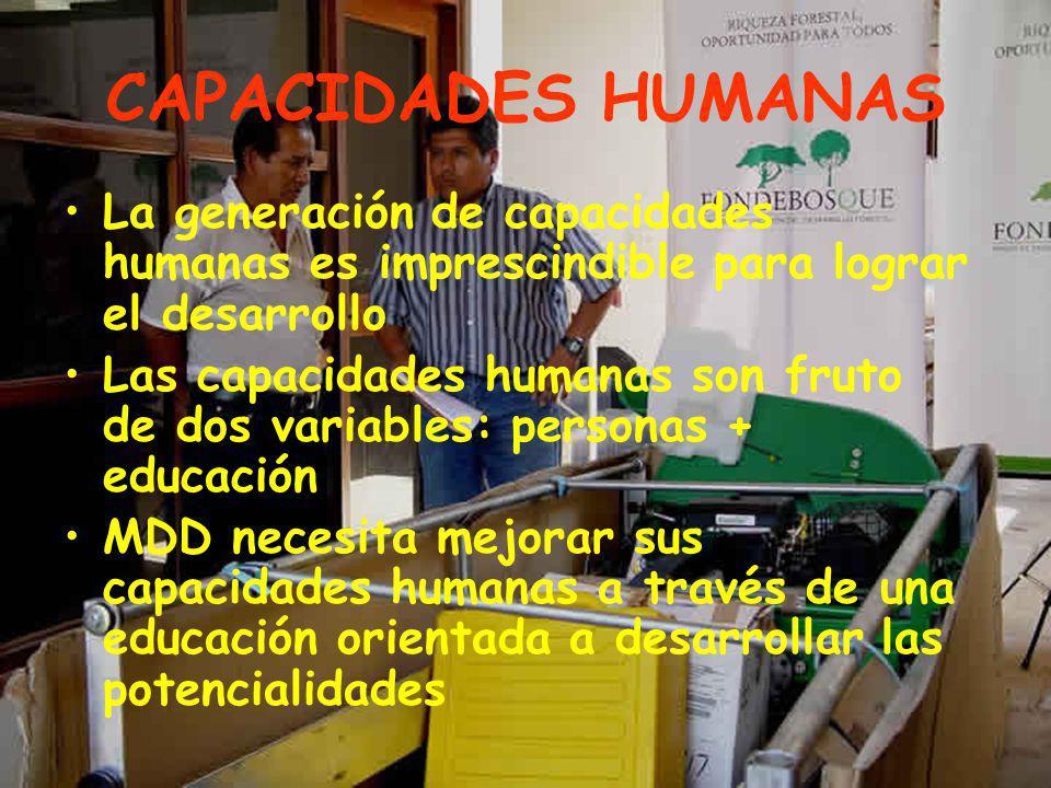CAPACIDADES HUMANAS La generación de capacidades humanas es imprescindible para lograr el desarrollo Las capacidades humanas son fruto de dos variables: personas + educación MDD necesita mejorar sus capacidades humanas a través de una educación orientada a desarrollar las potencialidades