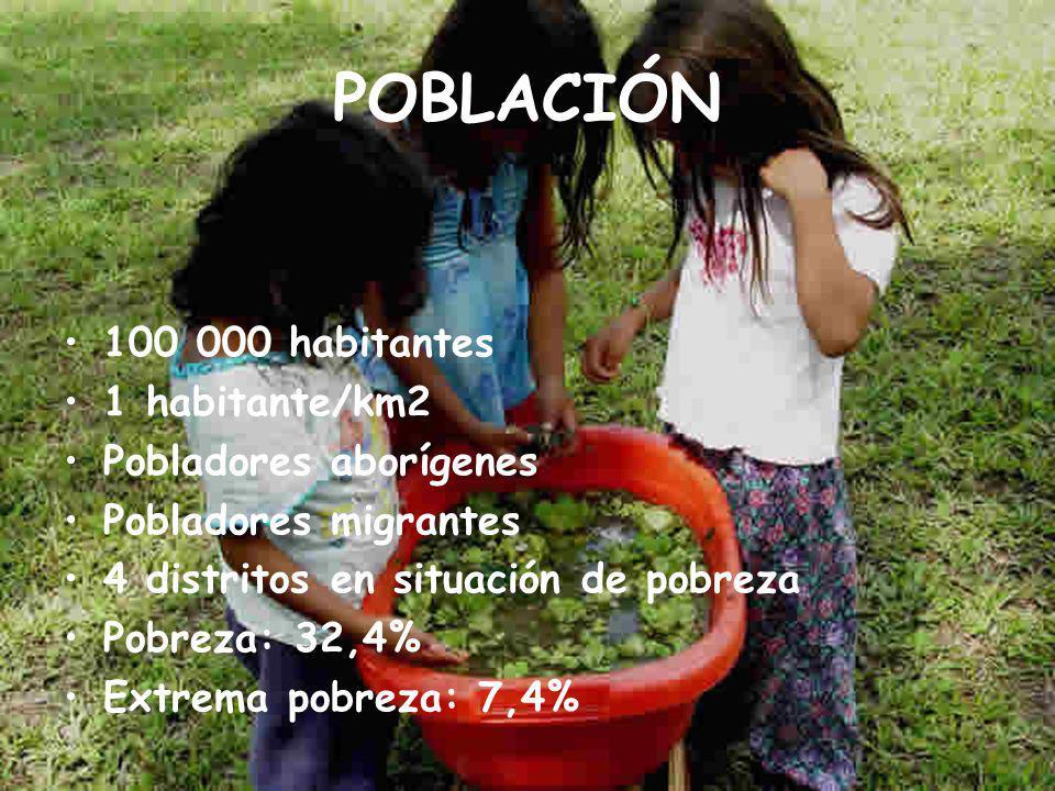 POBLACIÓN 100 000 habitantes 1 habitante/km2 Pobladores aborígenes Pobladores migrantes 4 distritos en situación de pobreza Pobreza: 32,4% Extrema pobreza: 7,4%