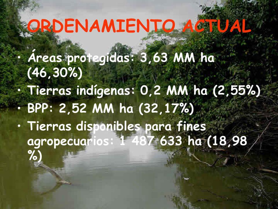 ORDENAMIENTO ACTUAL Áreas protegidas: 3,63 MM ha (46,30%) Tierras indígenas: 0,2 MM ha (2,55%) BPP: 2,52 MM ha (32,17%) Tierras disponibles para fines agropecuarios: 1 487 633 ha (18,98 %)