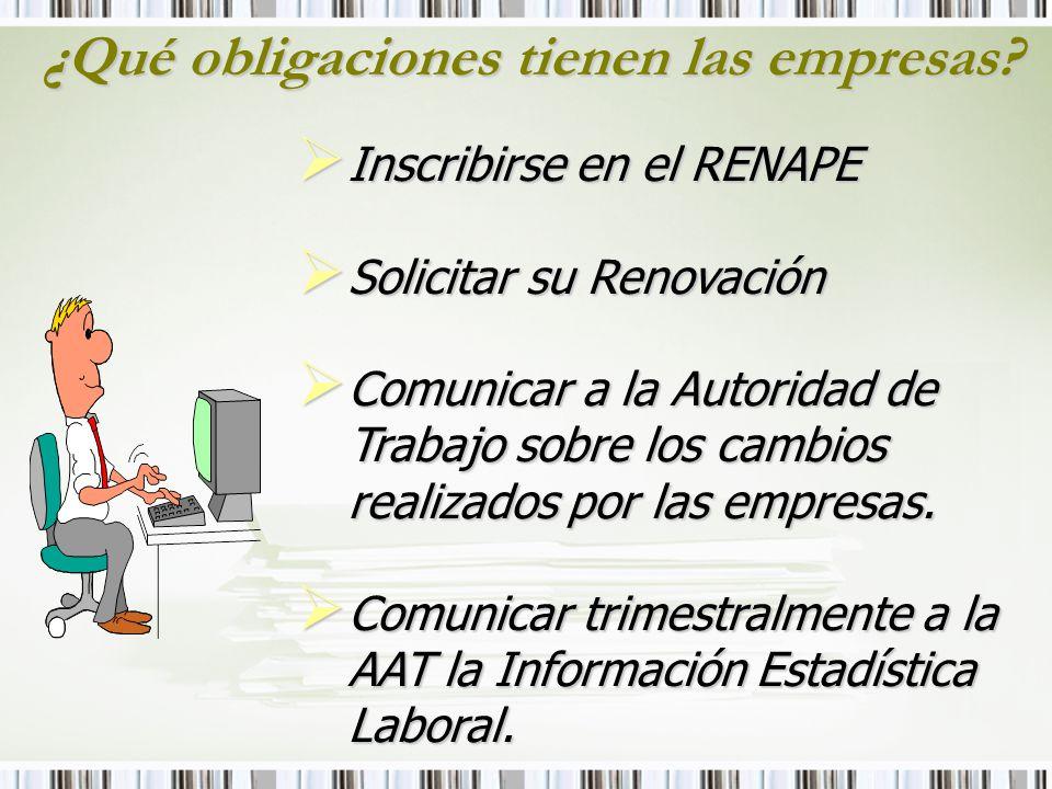 ¿Qué obligaciones tienen las empresas? Inscribirse en el RENAPE Inscribirse en el RENAPE Solicitar su Renovación Solicitar su Renovación Comunicar a l
