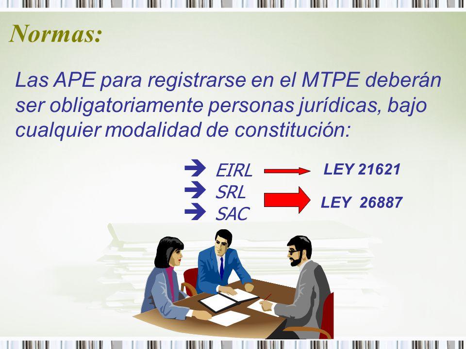 Normas: Las APE para registrarse en el MTPE deberán ser obligatoriamente personas jurídicas, bajo cualquier modalidad de constitución: è EIRL è SRL è