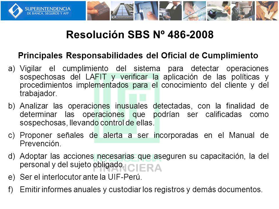 Principales Responsabilidades del Oficial de Cumplimiento a)Vigilar el cumplimiento del sistema para detectar operaciones sospechosas del LAFIT y veri