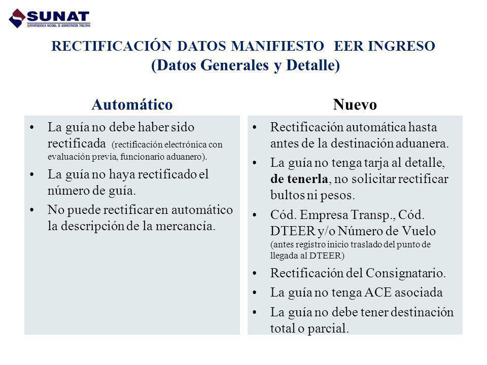 RECTIFICACIÓN DATOS MANIFIESTO EER INGRESO (Datos Generales y Detalle) Automático La guía no debe haber sido rectificada (rectificación electrónica co
