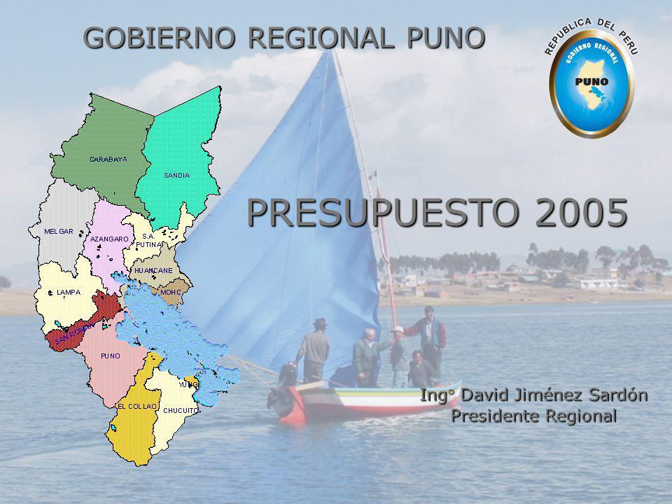 GOBIERNO REGIONAL PUNO Ing° David Jiménez Sardón Presidente Regional PRESUPUESTO 2005