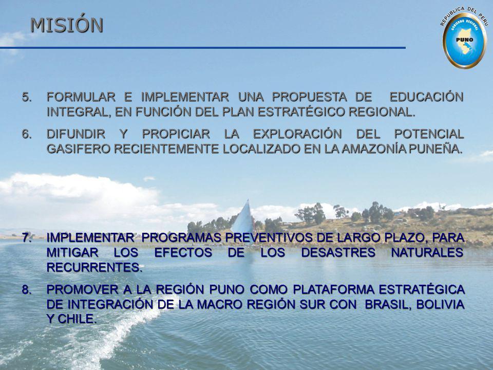 MISIÓN MISIÓN 5.FORMULAR E IMPLEMENTAR UNA PROPUESTA DE EDUCACIÓN INTEGRAL, EN FUNCIÓN DEL PLAN ESTRATÉGICO REGIONAL. 6.DIFUNDIR Y PROPICIAR LA EXPLOR