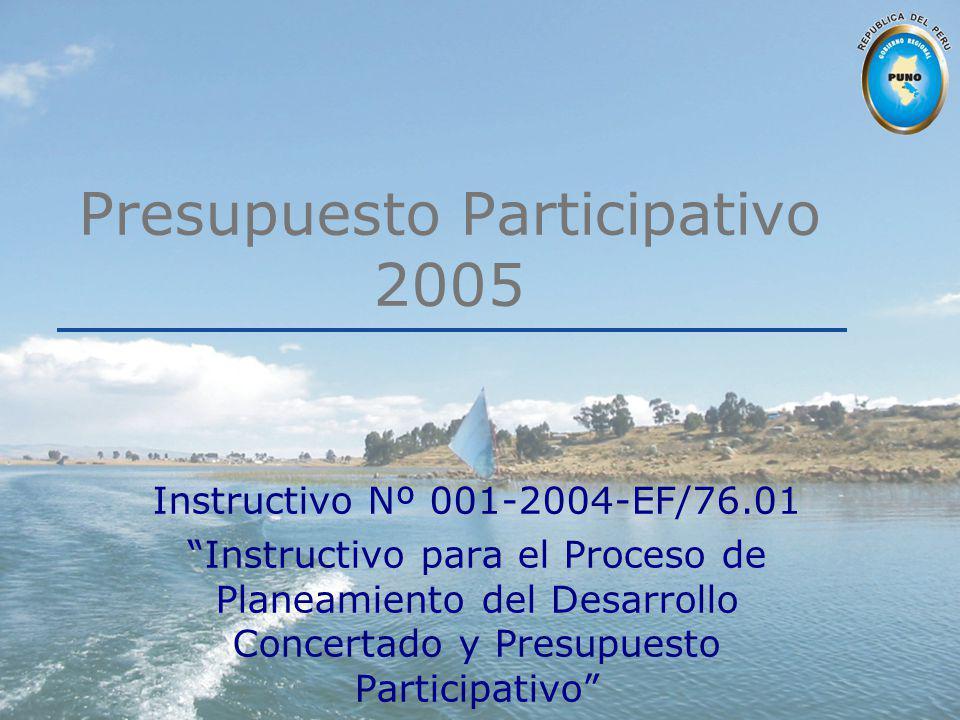 Presupuesto Participativo 2005 Instructivo Nº 001-2004-EF/76.01 Instructivo para el Proceso de Planeamiento del Desarrollo Concertado y Presupuesto Pa