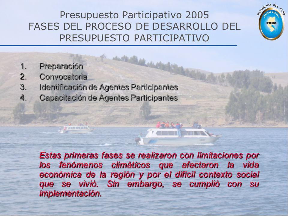 Presupuesto Participativo 2005 FASES DEL PROCESO DE DESARROLLO DEL PRESUPUESTO PARTICIPATIVO 1.Preparación 2.Convocatoria 3.Identificación de Agentes