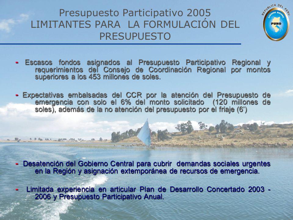 Presupuesto Participativo 2005 LIMITANTES PARA LA FORMULACIÓN DEL PRESUPUESTO - Escasos fondos asignados al Presupuesto Participativo Regional y reque