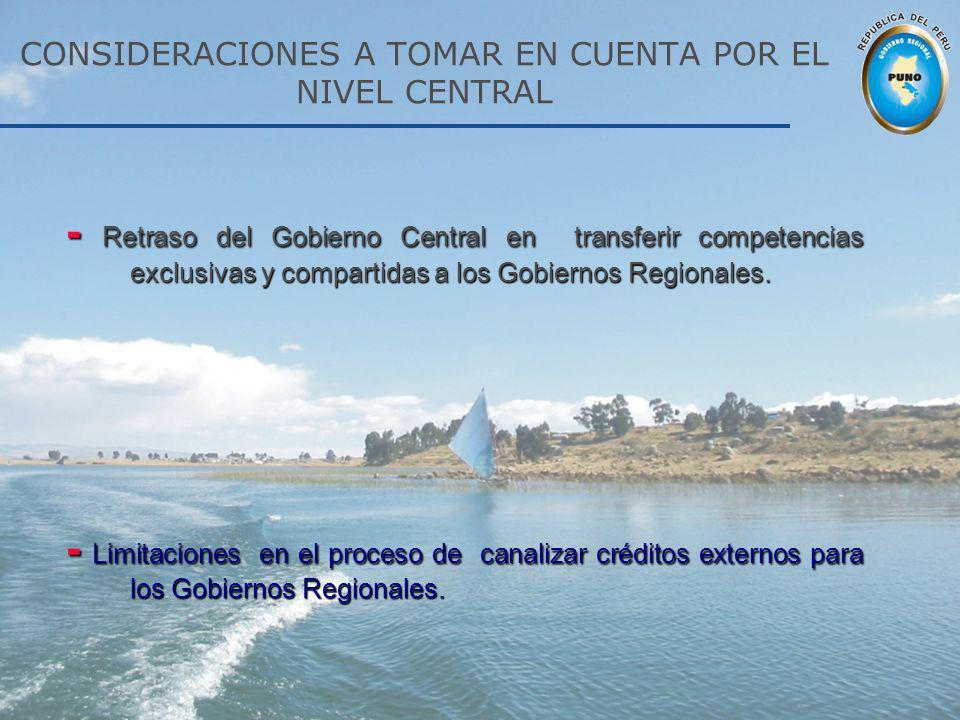 - Retraso del Gobierno Central en transferir competencias exclusivas y compartidas a los Gobiernos Regionales. - Limitaciones en el proceso de canaliz