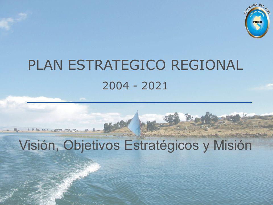 PLAN ESTRATEGICO REGIONAL 2004 - 2021 Visión, Objetivos Estratégicos y Misión