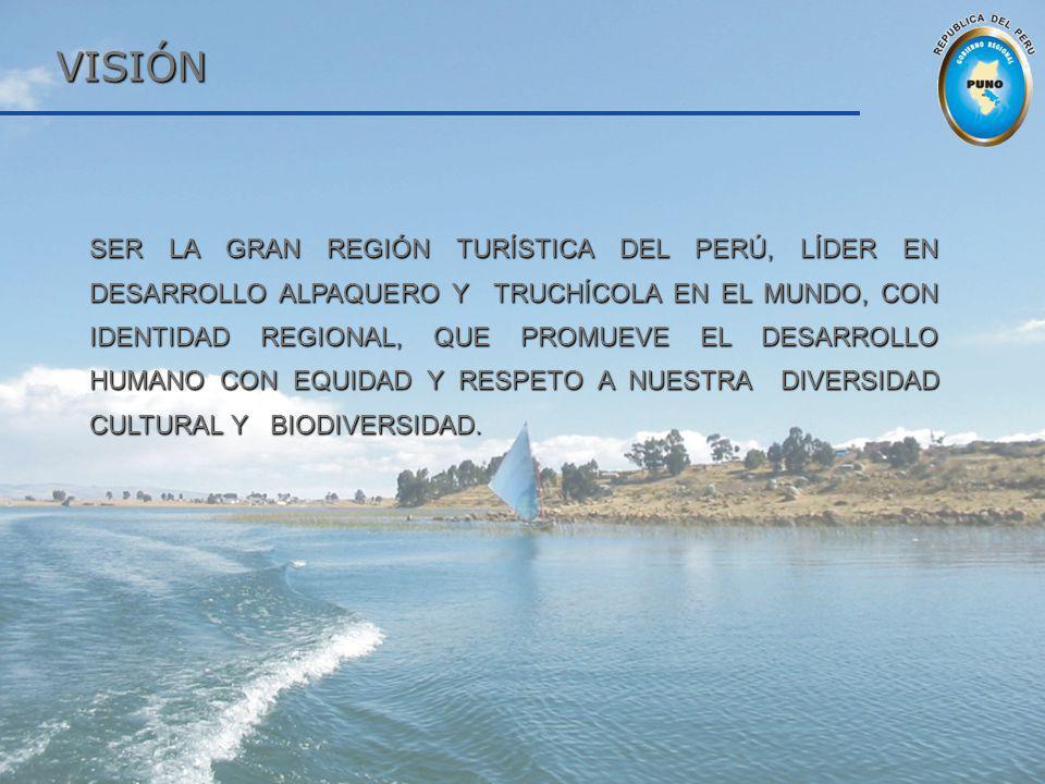 VISIÓN SER LA GRAN REGIÓN TURÍSTICA DEL PERÚ, LÍDER EN DESARROLLO ALPAQUERO Y TRUCHÍCOLA EN EL MUNDO, CON IDENTIDAD REGIONAL, QUE PROMUEVE EL DESARROL