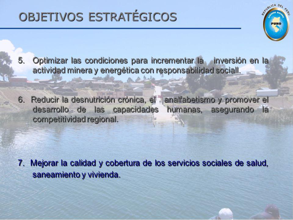 OBJETIVOS ESTRATÉGICOS OBJETIVOS ESTRATÉGICOS 5.Optimizar las condiciones para incrementar la inversión en la actividad minera y energética con respon