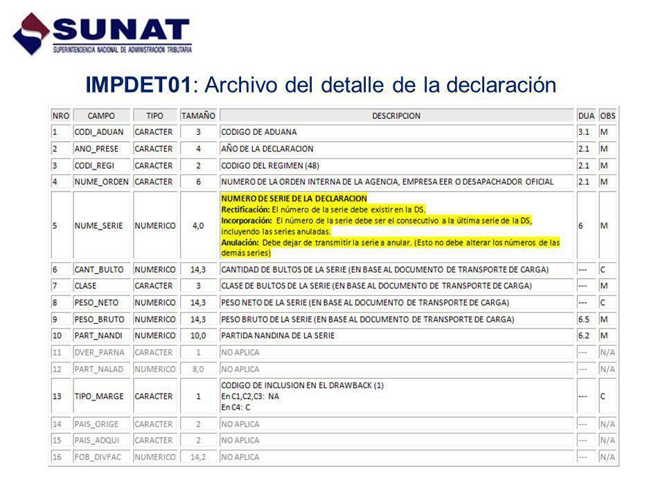 IMPDET01: Archivo del detalle de la declaración