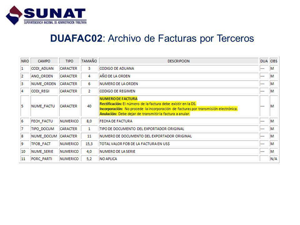DUAFAC02: Archivo de Facturas por Terceros