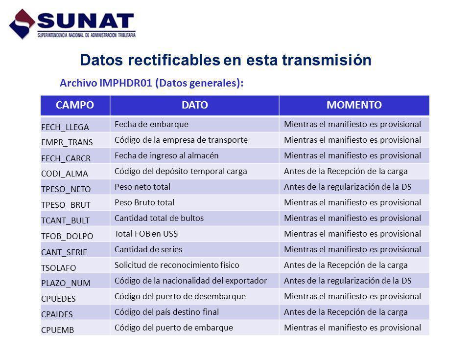 Datos rectificables en esta transmisión Archivo IMPHDR01 (Datos generales): CAMPODATOMOMENTO FECH_LLEGA Fecha de embarqueMientras el manifiesto es pro