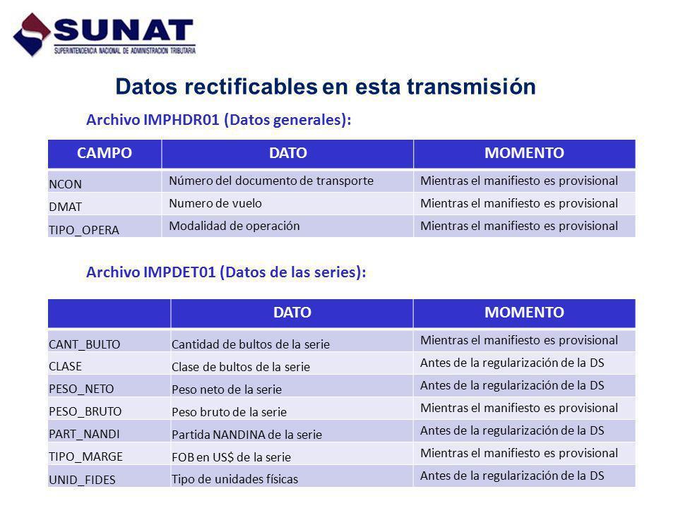 Datos rectificables en esta transmisión Archivo IMPHDR01 (Datos generales): CAMPODATOMOMENTO NCON Número del documento de transporteMientras el manifi
