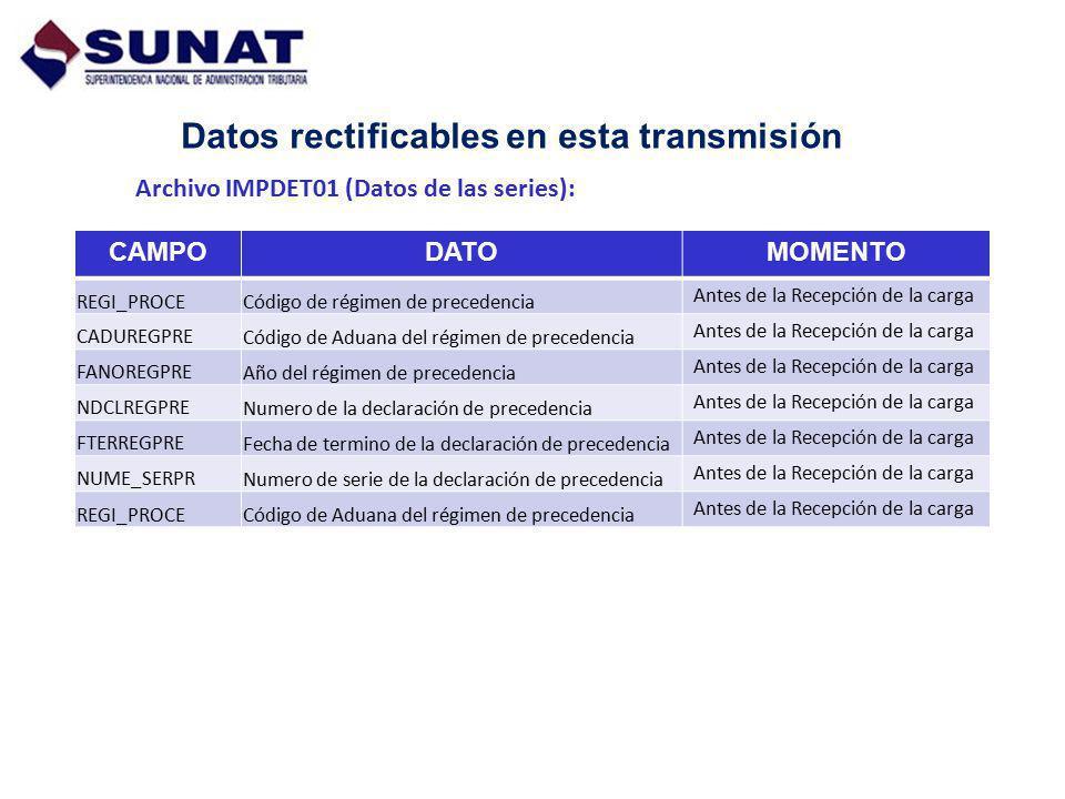 Datos rectificables en esta transmisión Archivo IMPDET01 (Datos de las series): CAMPODATOMOMENTO REGI_PROCECódigo de régimen de precedencia Antes de l