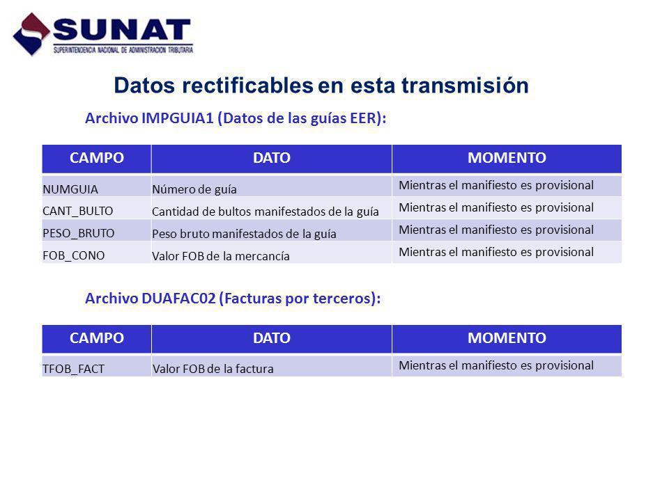 Datos rectificables en esta transmisión Archivo IMPGUIA1 (Datos de las guías EER): CAMPODATOMOMENTO NUMGUIANúmero de guía Mientras el manifiesto es pr