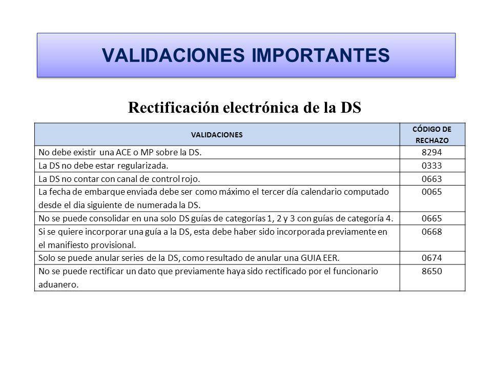 VALIDACIONES IMPORTANTES Rectificación electrónica de la DS VALIDACIONES CÓDIGO DE RECHAZO No debe existir una ACE o MP sobre la DS.8294 La DS no debe