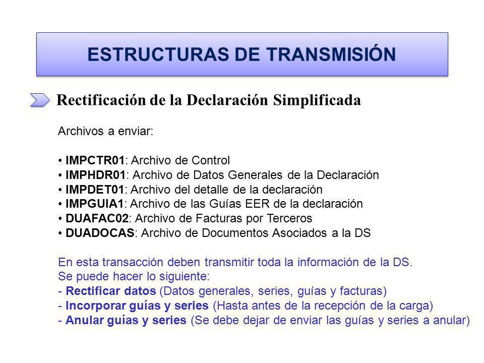 ESTRUCTURAS DE TRANSMISIÓN Rectificación de la Declaración Simplificada Archivos a enviar: IMPCTR01: Archivo de Control IMPCTR01: Archivo de Control I