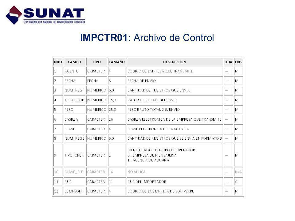 IMPCTR01: Archivo de Control