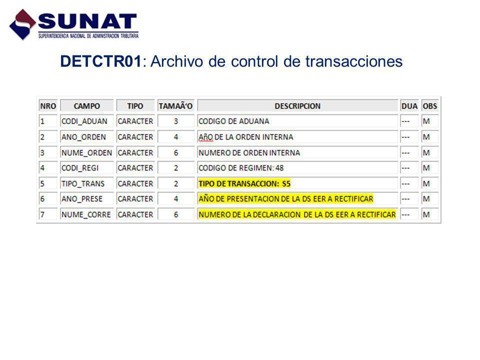 DETCTR01: Archivo de control de transacciones