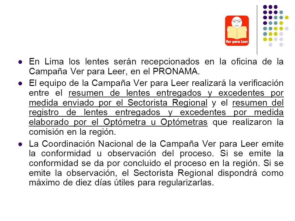 En Lima los lentes serán recepcionados en la oficina de la Campaña Ver para Leer, en el PRONAMA. El equipo de la Campaña Ver para Leer realizará la ve