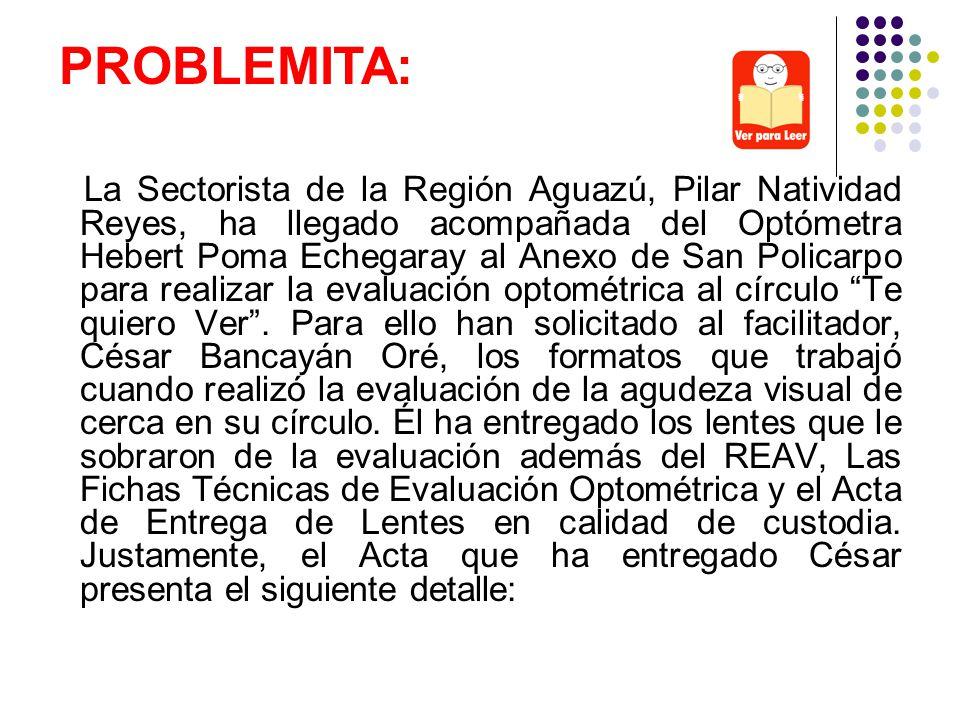 La Sectorista de la Región Aguazú, Pilar Natividad Reyes, ha llegado acompañada del Optómetra Hebert Poma Echegaray al Anexo de San Policarpo para rea