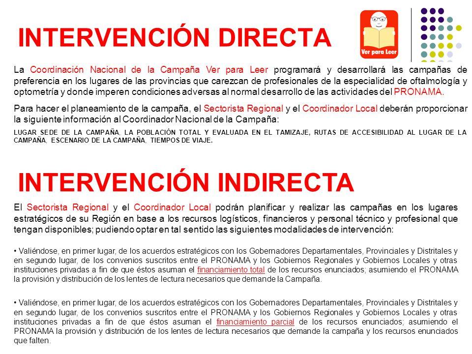 INTERVENCIÓN DIRECTA La Coordinación Nacional de la Campaña Ver para Leer programará y desarrollará las campañas de preferencia en los lugares de las