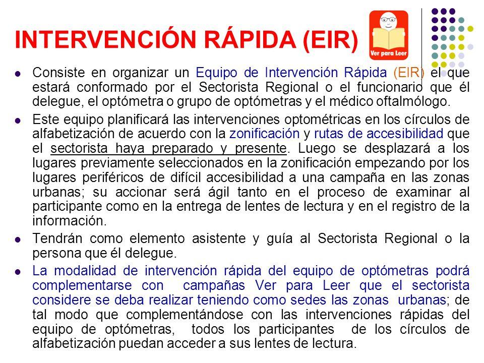 Consiste en organizar un Equipo de Intervención Rápida (EIR) el que estará conformado por el Sectorista Regional o el funcionario que él delegue, el o