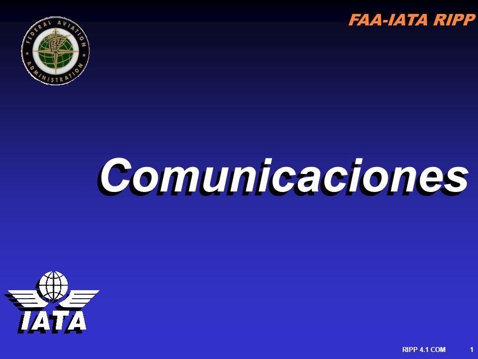 FAA-IATA RIPP RIPP 4.1 COM2 PROCESO DE COMUNICACION Mensaje Transmitido Comunicación CONTROLADOR PILOTO Comunicación Mensaje Recibido Mensaje Transmitido Comunicación CONTROLADOR PILOTO Comunicación Mensaje Recibido