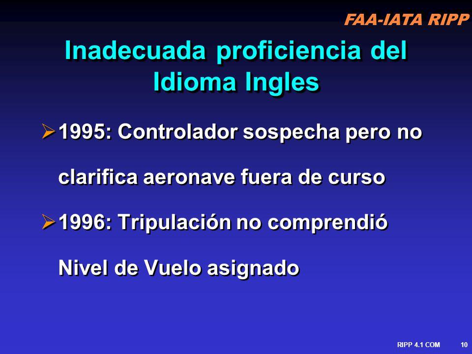 FAA-IATA RIPP RIPP 4.1 COM11 Uso de dos Idiomas en un mismo entorno 2000: Colisión en Pista en CDG 1976: Colisión en el Aire en Yugoslavia (113) 2000: Colisión en Pista en CDG 1976: Colisión en el Aire en Yugoslavia (113)