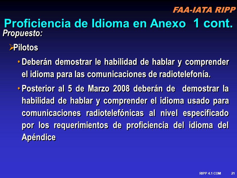 FAA-IATA RIPP RIPP 4.1 COM22 Proficiencia de Idioma en Anexo 1 cont.