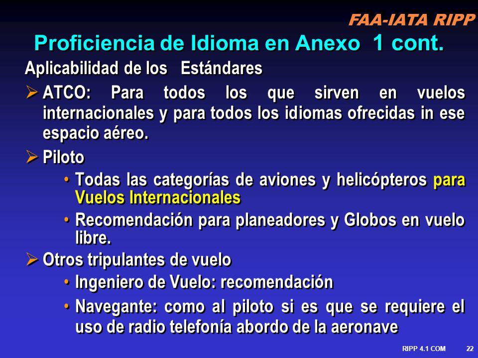 FAA-IATA RIPP RIPP 4.1 COM23 Provisiones de proficiencia Requerimientos De proficiencia de Idioma = Descriptores Holisticos + Escala de Calificación Requerimientos De proficiencia de Idioma = Descriptores Holisticos + Escala de Calificación