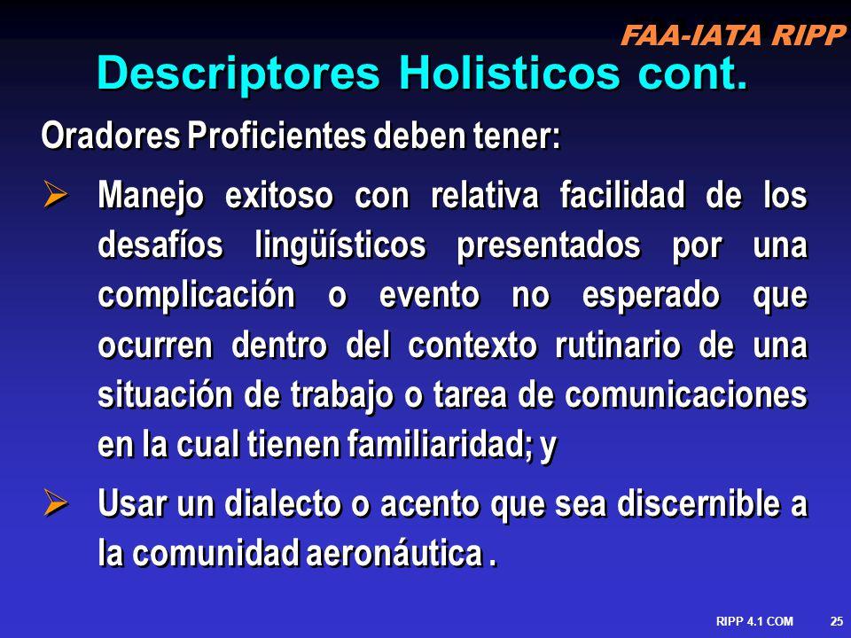 FAA-IATA RIPP RIPP 4.1 COM26 Escala de Nivel ICAO Seis Niveles Experto-6 Pre-operacional-3 Extendido-5 Elemental-2 Operacional-4 Pre-elemental-1 Seis Áreas de performance lingüística Pronunciación Fluencia EstructuraComprensión InteracciónVocabulario Seis Niveles Experto-6 Pre-operacional-3 Extendido-5 Elemental-2 Operacional-4 Pre-elemental-1 Seis Áreas de performance lingüística Pronunciación Fluencia EstructuraComprensión InteracciónVocabulario
