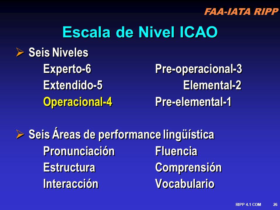 FAA-IATA RIPP RIPP 4.1 COM27 Evaluación Recurrente Nivel 6: no requiere evaluación recurrente Nivel 5: cada 6 años Nivel 4: cada 3 años Nivel 6: no requiere evaluación recurrente Nivel 5: cada 6 años Nivel 4: cada 3 años